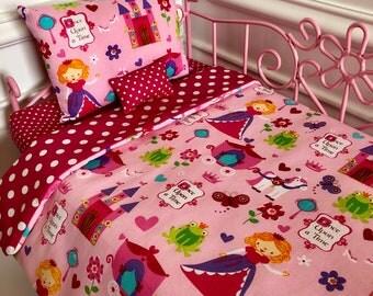 "18"" Doll Bedding Set/American Girl Bedding/3pc Bedding Set/Princess"