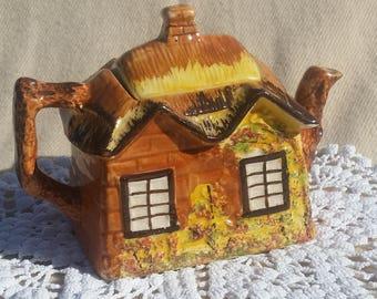 1940s Ceramic Cottage House Teapot PRICE BROS England Ye Olde Cottage