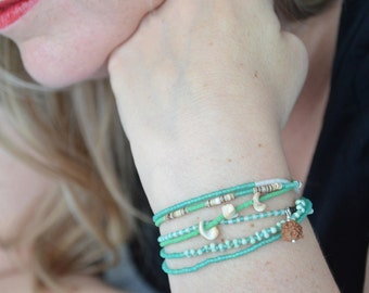 Sea Green Seed Beed Necklace or Wrap Bracelet