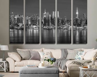 Extra Large New York City Wall Art Canvas Print, Black and White New York Skyscrapers at Sunset Canvas Print, New York City Skyline Wall Art