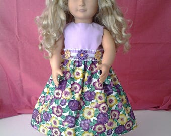 American Girl dress made with purple and yellow cotton