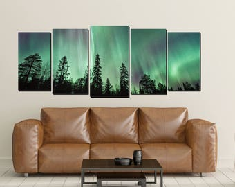 Northern Lights Canvas Wall Art, Aurora Borealis, Polar Green Purple, Forest Large 5 Panel Canvas, Home Decor Wall, Pine Trees Nighttime