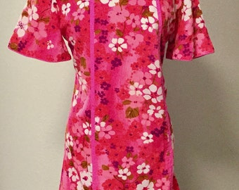 1960s Tiki Time Groovy Summer Pink Floral Hawaiian Dress Vintage by McIniery