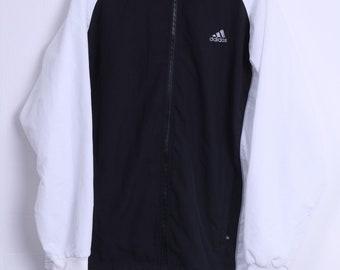 Adidas Mens 42/44 L Track Top Jacket Black White Zip Up Sport Training Sportswear