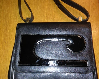 Pierre Cardin vintage black leather handbag