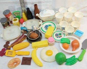 Vintage Kitchen Toy Lot: 50+ Pieces of dishes and food, including Le Romarin Corningware , Arco, Blue Box, Red Box, tin