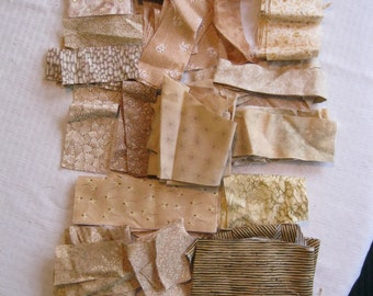 Stash-Buster Neutral Cotton Quilting Fabric Scraps #3