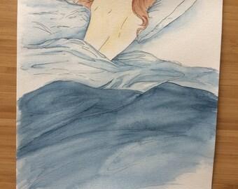 Mornings//Morning//artprint//A4 Print//illustration//wall art//watercolor and Fineliner