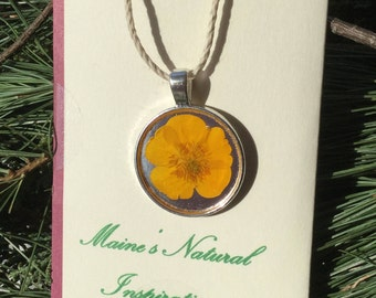 Handmade yellow buttercup flower bezel necklace. Maine USA. Circle silver necklace,Mother's day gift