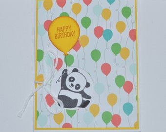 Hand Stamped Birthday Panda Greeting Card