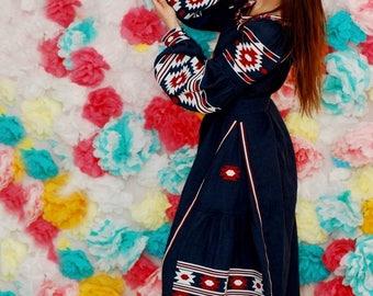 Blue Linen Boho Dress With Embroidery Embroidered Dress Maxi Long Sleeve Custom Bohemian Dress Abaya Ukrainian Embroidery Vyshyvanka