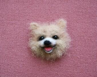 Dog. Felted Dog Brooch. Felted Dog Pin. Needle Felted Keepsake. One of a Kind. Handmade. Present. Birthday.