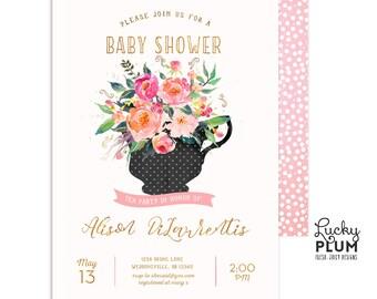 Tea Party Baby Shower Invitation / Kitchen Tea Invitation / Tea Party Invitation / High Tea Coed Spring / Couples Baby Shower Invitation /