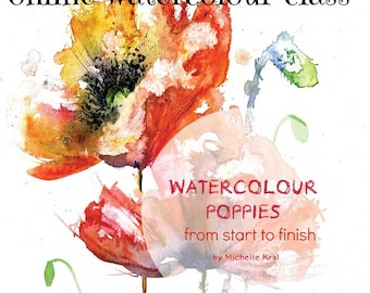 WATERCOLOUR POPPY from start to finish online class