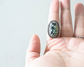 Handmade New Lander Turquoise Sterling Silver Ring Sterling Silver Stone Bezel Stone Ring
