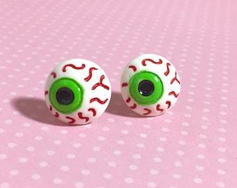 Creepy Bloodshot Eyes Stud Earrings, Halloween Zombie Eyes, Novelty Weird Fun, Green Iris, Surgical Steel