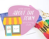 INTRODUCTORY PRICE - About the Town Stitching Club - Embroidery and EPP Mini Quilt Project