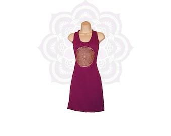 Organic Racer Back Mini Dress with Mandala print- Handmade and dyed to order using Organic cotton and Hemp jersey