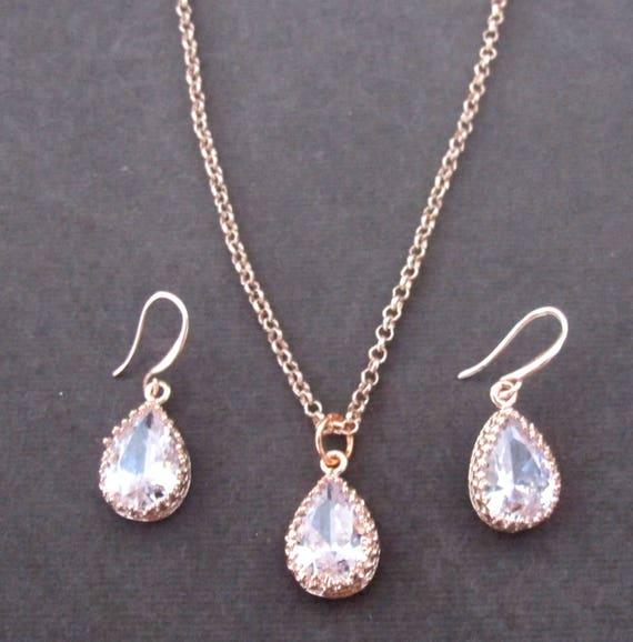 Roe gold jewelry set,Dainty Bridal necklace,Rose Gold Wedding jewelry,Bridesmaid jewelry,Teardrop earring,Teardrop Neclace,Free Shipping USA