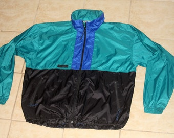 Columbia Teal Black Blue Full Zip Windbreaker Jacket Large Vintage 1990s