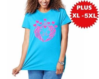 Unicorn Plus Size Shirt Womens T-Shirts Shirts with unicorns plus size clothing Pegasus cute women's tops XL 2XL 3XL 4XL 5XL tees