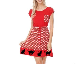 Womens Cat Dress Clothing with Cats Kitty gifts Tunic shirt polka dot dresses Black and White Cut A line pin up Dresses screen printed