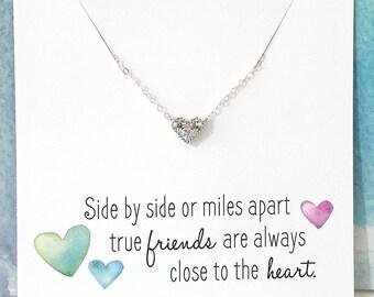 Best Friend Gift, Long Distance Friend, Friendship Gift, Diamond Heart Necklace, Cubic Zirconia Heart Pendant, Silver Heart Necklace tiny CZ