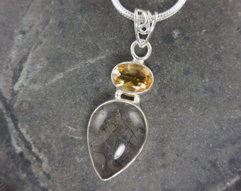 Rutilated quartz and citrine gemstone sterling silver necklace
