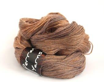 Handdyed 4ply yarn, superwash merino tencel, fingering weight Sweet Chestnut, hand dyed brown semi-solid wool, Perran Yarns, uk, Cornwall