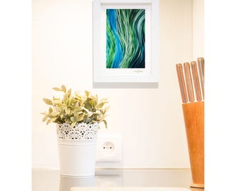 Blue & Green Framed Abstract Print On Metal, Hand-Signed Modern Metal Art, Contemporary Desk Top Art, Bookshelf Decor by Jon Allen - B