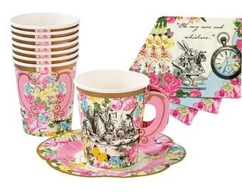 Alice in Wonderland Party Set Paper Napkins Cups Saucers | Mad Hatter Tea Party Decorations | Pink Blue Girlie 12 Handled Cups 20 Napkins