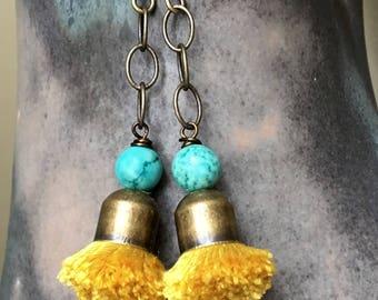Tassel Earrings, Silk Tassel Earrings, Yellow Tassel Earrings, Bohemian Tassel Earrings, Fun Tassel Earrings