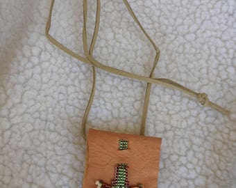 Leather and Beadwork Prayer Pouch Necklace