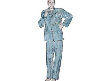 40s Pajama pattern SALE Men's pyjama pants pattern Loungewear vintage Mens Medium Chest 38 Chest 40 Advance 4641