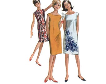 60s uncut Sheath Dress Pattern Fitted Shift Dress vintage 34-26-36 Sleeveless Dress pattern Cocktail Dress pattern Bust 34 McCalls 7196