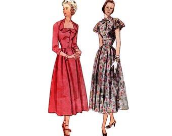 40s Portrait Collar Dress pattern  SALE Fit and Flare Dress pattern vintage 30-25.5-33 Flutter Sleeve Cocktail Dress pattern Simplicity 2482