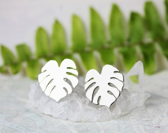 Monstera earrings, sterling silver stud earrings, nature jewelry, palm leaf earrings, tropical jewelry, houseplant gift for gardener