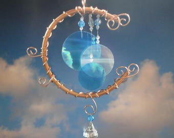 Stained Glass Wind Chime, Blue Moon, Teal, Home Decor, Garden Art, Full Moon, Celestial, Mobile, Window Hanging, Porch Hanging, Sculpture