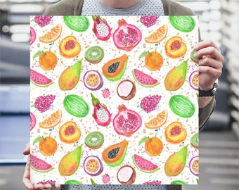 Watercolor Tropical Fruits Drawing Printed Poster