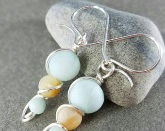 Amazonite Silver Wire Wrapped Earrings