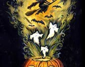 Halloween PRINT Linocut and Watercolor Painting Fantasy Folk Art Witch Bats Pumpkin Ghosts