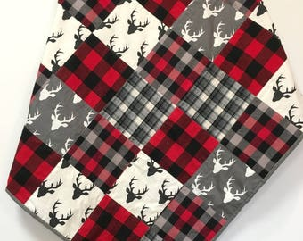 Buffalo Plaid Baby Boy Quilt Deer Heads Patchwork Handmade Nursery Crib Bedding Red Black Gray