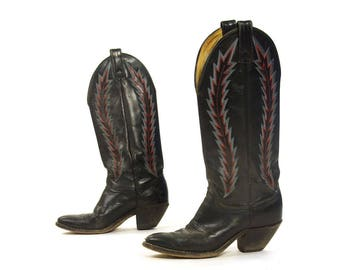 70s Abilene Cowboy Boots Vintage Embroidered Black Leather Tall Pull On Western Boots Tapered Heel Leather Soles Women's Size 7