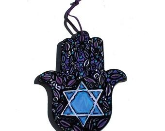 Star of David Hamsa Hanging - Judaica - Jewish Housewarming or Wedding Gift - Hamsa Wall Art - Hamsa Hand