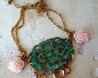 Verdigris Garden Gate Rose Dangle Boho Bracelet
