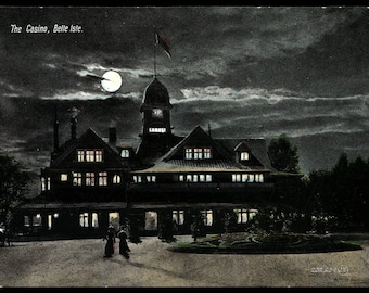 Belle Isle Postcard Casino Moonlight Women Walking Portland Maine ME PC