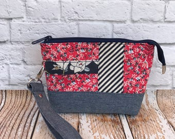 Floral Clutch Bag  Womens Purse Zipper Bag Red Purse Floral Print Small Bag  Floral Bag Wristlet Clutch Small Clutch Gift For Her