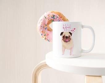 Pug Mug, Large Mug, Wife Gift Mug, Coffee Mug Cute Gift, Dog Mug, Statement Mug, Long Distance Romantic Gift, Dog Lover Gifts For Women