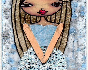 ACEO/ATC - Blonde Girl with Blue Streak & Glitter Dress