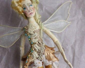 OOAK Fairy Doll Handmade Miniature Gift Doll Artist Doll | Doll Collectors | Fairy Godmother Paula McGee Tiny House Cloth Doll Art Doll